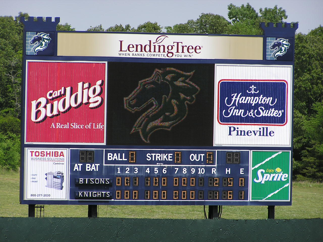 Scoreboard at Knights Stadium